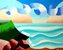 "Mark Webster - Abstract Ocean Coast Landscape Oil Painting by Mark Webster Oil ~ 8"" x 10"""