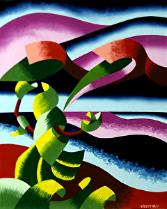 "The Rose Bush Hails the Last Taxi - Abstract Midnight Lake Landscape Oil Painting #2 by Mark Webster Oil ~ 10"" x 8"""