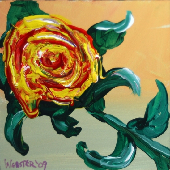 "Yellow Flower Painting Experiment by Artist Mark Webster by Mark Webster Acrylic ~ 6"" x 6"""
