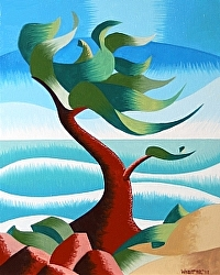 Mark Webster - Abstract Rough Futurism Cypress Tree #2 Coastal Landscape Oil Painting