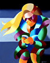 "Mark Webster - Abstract Modern Woman in New York Oil Painting by Mark Webster Oil ~ 10"" x 8"""