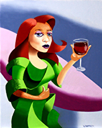 Mark Webster - Abstract Caricature 1 - Redhead in a Green Dress Figurative Oil Painting