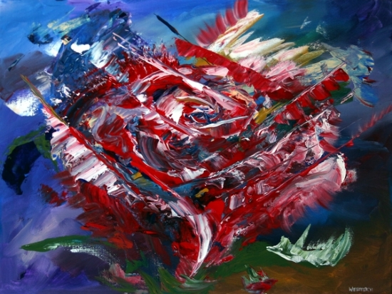 "Mark Webster - Rose Nebula - Abstract Acrylic Painting by Mark Webster Acrylic ~ 18"" x 24"""