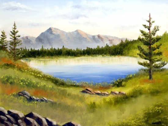 "Mark Webster - Mountain Lake Landscape Oil Painting by Mark Webster Oil ~ 18"" x 24"""