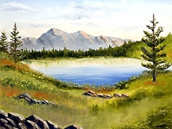 Mark Webster - Mountain Lake Landscape Oil Painting