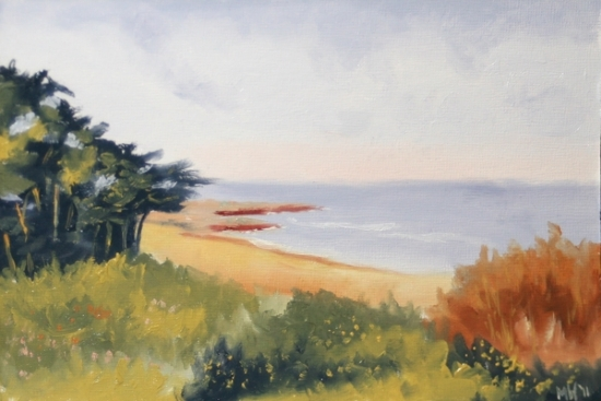 "Mark Webster - Island of Jersey Landscape Oil Painting - Virtual Paintout by Mark Webster Oil ~ 6"" x 9"""