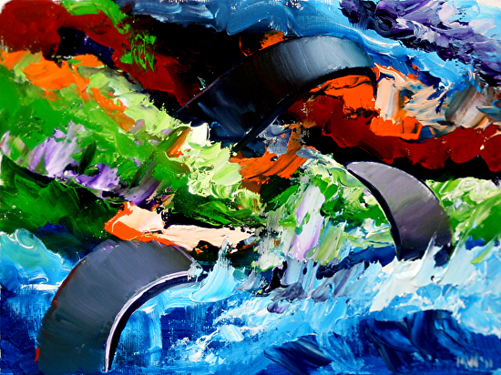 """Mark Webster - Abstraction 12 - Abstract Landscape Oil Painting by Mark Webster Oil ~ 6"""" x 8"""""""