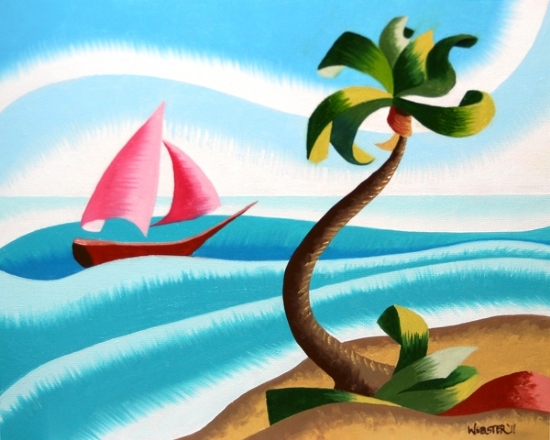 """Mark Webster - Abstract Rough Futurist Ocean Landscape with Sailboat Oil Painting by Mark Webster Oil ~ 8"""" x 10"""""""