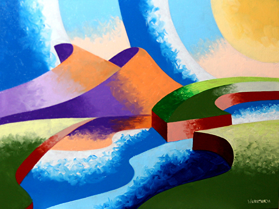 "Mark Webster - Ice Cream Sunset - Abstract Geometric Landscape Oil Painting by Mark Webster Oil ~ 9"" x 12"""