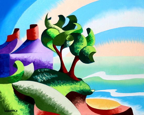 """Mark Webster - House on the Coast - Abstract Geometric Landscape Oil Painting by Mark Webster Oil ~ 8"""" x 10"""""""