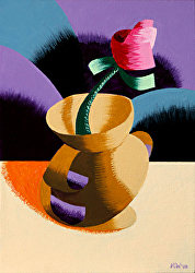 Mark Webster - Rough Futurist Rose in Vase Still Life Oil Painting