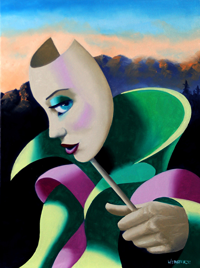 Looking for Strange - Abstract Surrealist Mask Oil Painting by Mark Webster Oil ~ 12 x 9