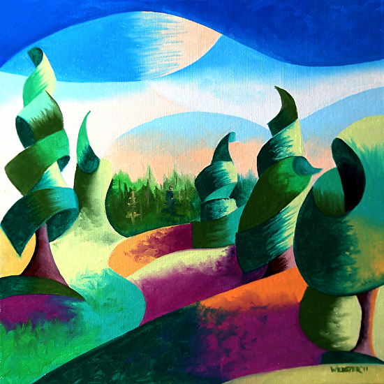 Abstract Geometric Alaska Landscape Painting - Virtual Paintout by Mark Webster Oil ~ 10 x 10