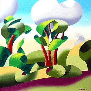 """Abstract Geometric Landscape Oil Painting - Lapalco Boulevard, Louisiana by Mark Webster Oil ~ 10"""" x 10"""""""