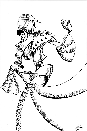 """Geometric Abstract Woman in Dress Figurative Ink Drawing by Mark Webster Ink ~ 9"""" x 6"""""""