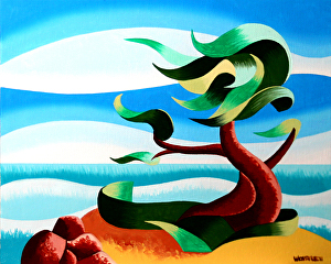 """Abstract Geometric Landscape Oil Painting - Cypress Tree Seascape #3 by Mark Webster Oil ~ 8"""" x 10"""""""