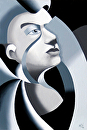 "Abstract Grayscale Unfinished Sculpture 1 Oil Painting by Mark Webster Oil ~ 8"" x 6"""