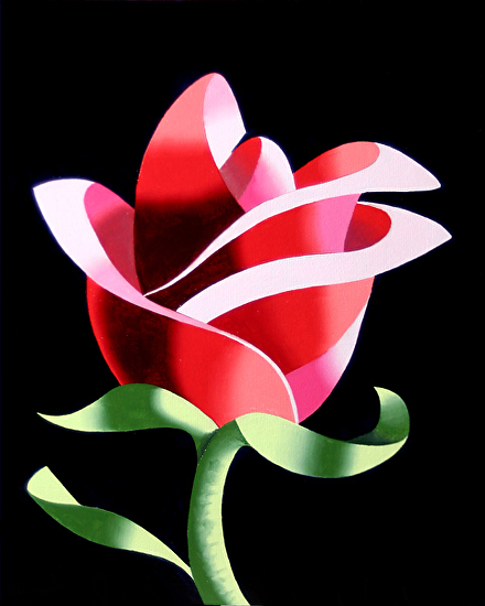 "Abstract Geometric Rose #2 Still Life Painting by Mark Webster Oil ~ 10"" x 8"""