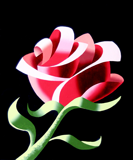 "Abstract Geometric Rose #3 Still Life Painting by Mark Webster Oil ~ 10"" x 8"""