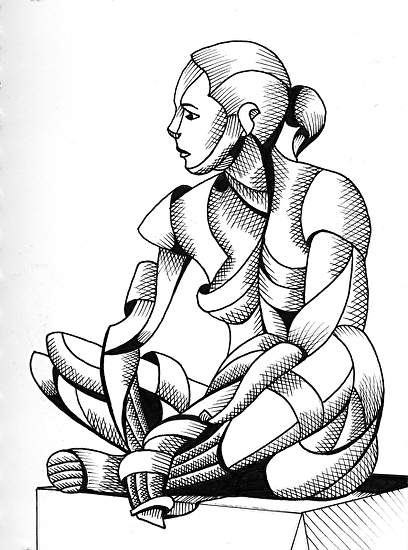 """Michaela 24-3 - Abstract Nude Geometric Figurative Ink Drawing by Mark Webster Ink ~ 7"""" x 5"""""""