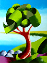 "Abstract Geometric Oak Tree Lake Landscape Oil Painting by Mark Webster Oil ~ 8"" x 6"""