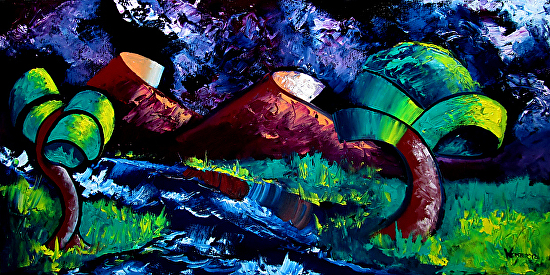 "Mark Webster - Abstraction 14 - Abstract Landscape Oil Painting by Mark Webster Oil ~ 15"" x 30"""