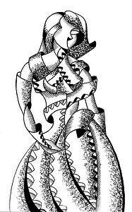 "Cubism Experiment #1 - Abstract Geometric Figurative Ink Drawing by Mark Webster Ink ~ 8"" x 5"""