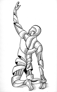 """Joe 37.09 - Abstract Nude Geometric Figurative Ink Drawing by Mark Webster Ink ~ 8"""" x 5"""""""