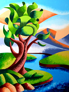 """Abstract Geometric Oak Tree River Landscape Oil Painting by Mark Webster Oil ~ 12"""" x 9"""""""