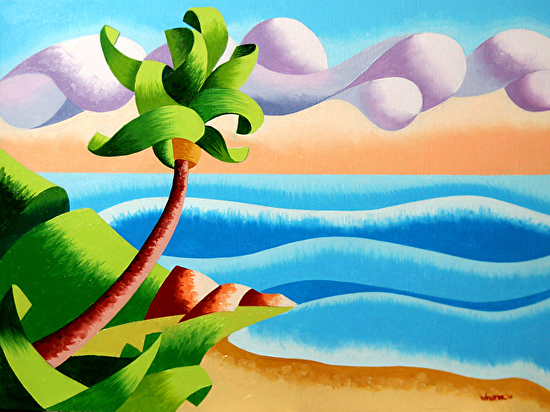 """Abstract Geometric Seascape Ocean Coast with Palm Tree Sunset Oil Painting by Mark Webster Oil ~ 9"""" x 12"""""""