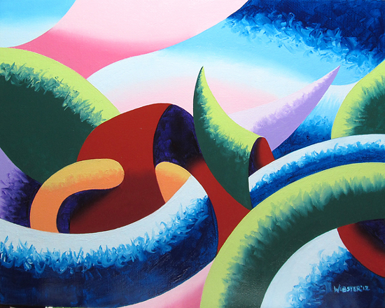 """The Modern Landscape 3.0 Abstract Geometric Oil Painting by Mark Webster Oil ~ 8"""" x 10"""""""