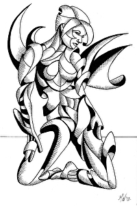 "Adrina 32.01 - Abstract Geometric Futurist Figurative Ink Drawing by Mark Webster Ink ~ 9"" x 6"""