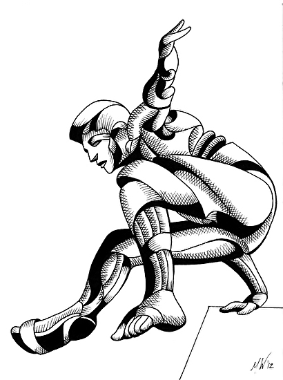 "Dave 25.03 - Abstract Geometric Futurist Figurative Ink Drawing by Mark Webster Ink ~ 8"" x 6"""