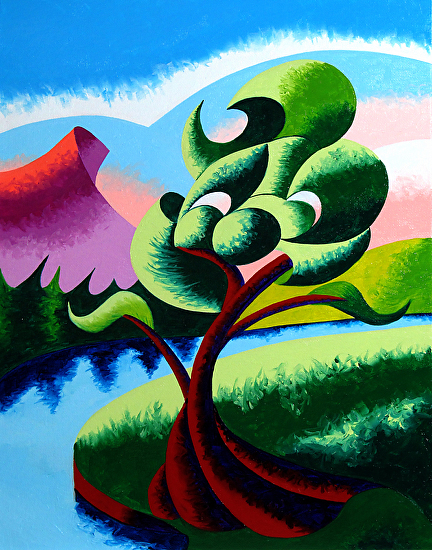 "Mark Webster - Abstract Geometric Landscape Oil Painting 2012-04-05 by Mark Webster Oil ~ 14"" x 11"""