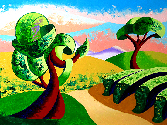 """Abstract Geometric Tuscan Vineyard Landscape Oil Painting 2012-04-10 by Mark Webster Oil ~ 9"""" x 12"""""""