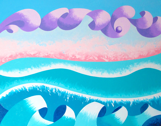 """Abstract Geometric Ocean Seascape Oil Painting 2012-04-11 by Mark Webster Oil ~ 11"""" x 14"""""""