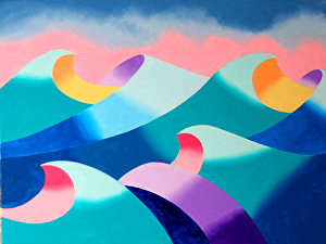 """Mark Webster - Abstract Geometric Ocean Seascape Oil Painting 2012-04-26 by Mark Webster Oil ~ 9"""" x 12"""""""