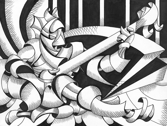 "Mark Webster - The Sitar Player Revisited - Abstract Geometric Figurative Ink Drawing by Mark Webster Ink ~ 9"" x 12"""