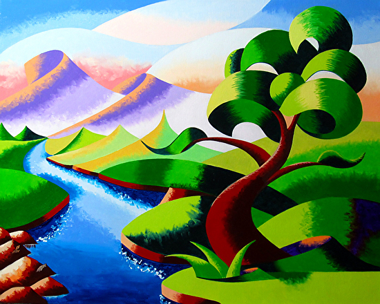 "Abstract Geometric Futurist Mountain River Landscape Oil Painting 2012-06-05 by Mark Webster Oil ~ 16"" x 20"""