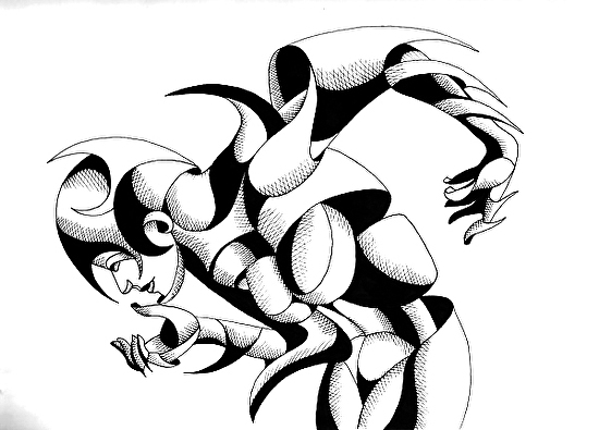 "V. Nixie 12-01 - Abstract Geometric Figurative Ink Drawing by Mark Webster Ink ~ 9"" x 12"""