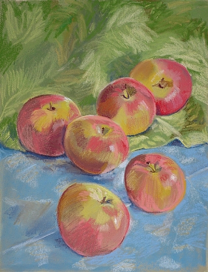 Six Apples on Damask Cloths (unframed) by Lea Carmichael Pastel ~ 13 x 9 1/2
