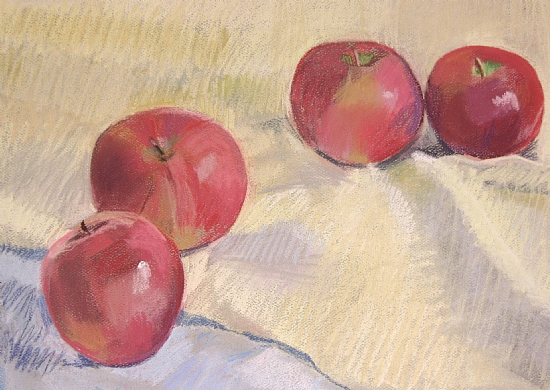 Four Apples on a Yellow Cloth (unframed) by Lea Carmichael Pastel ~ 9 1/2 x 12 1/2