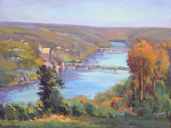River valley view, Goathill overlook, Lambertville, NJ - Oil