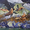"Mussel Lion Haul Out by Greg McHuron Oil ~ 48"" x 54"""