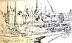 """Honfleur Harbor by Vcevy Strekalovsky Pencil ~ 6"""" x 9"""""""