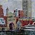 "Waterfront 1 by Vcevy Strekalovsky Oil ~ 14"" x 14"""