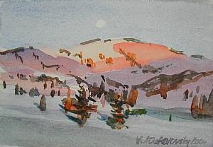 "Alta Afterglow by Vcevy Strekalovsky Watercolor ~ 4"" x 6"""
