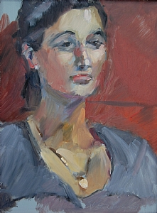"Lisa by Vcevy Strekalovsky Oil ~ 16"" x 12"""