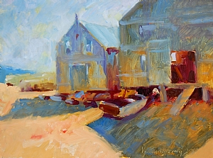 "Fish Shacks by Vcevy Strekalovsky Oil ~ 12"" x 16"""