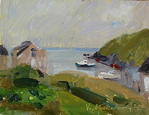 "Before the Rain by Vcevy Strekalovsky Oil ~ 6"" x 8"""